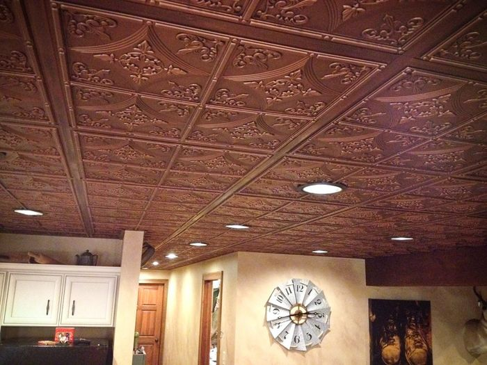 Ceiling tiles used in the kitchen and dining area