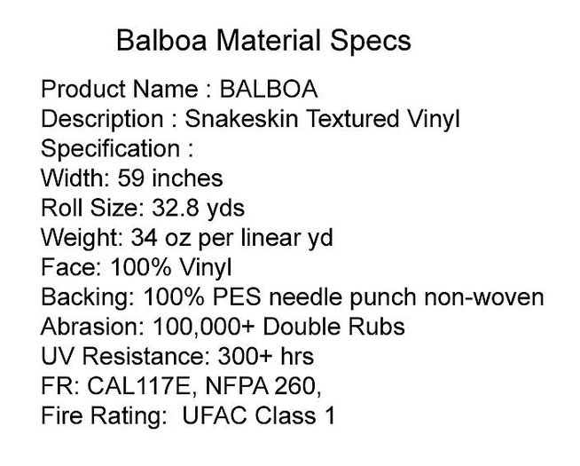 Specifications of Balboa Leather Ceiling Tile
