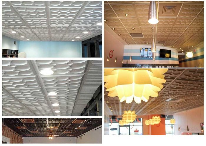 Pictures of the Roman Circle Ceiling Tile in a 2x2 Grid