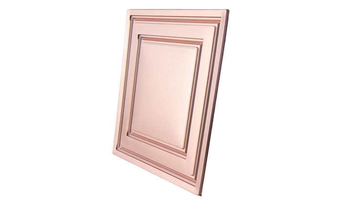 Angled view of a Faux Copper Stratford Ceiling Tile