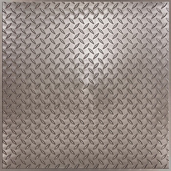 Diamond Plate Ceiling Tile - Faux Pewter